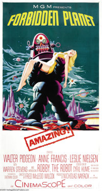 "Forbidden Planet (Loews-MGM, 1956). Three Sheet (41"" X 81""). This is the same striking image as the American o..."