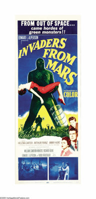"Invaders From Mars (20th Century Fox, 1953). Insert (14"" X 36""). Aliens land in a field behind a young boy's h..."