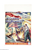 "Movie Posters:Science Fiction, The War of the Worlds (Paramount, 1953). Belgian Poster (14"" x22""). H.G. Wells classic story was adapted for this masterpie..."