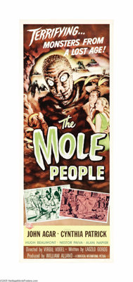 """The Mole People (Universal International, 1956). Insert (14"""" X 36""""). This is director Virgil Vogel's campy '50..."""