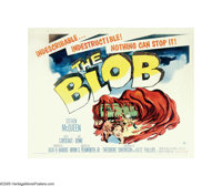 "The Blob (Paramount, 1958). Half Sheet (22"" X 28""). Steve McQueen had only a few uncredited roles under his be..."