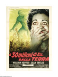"Movie Posters:Science Fiction, 20 Million Miles to the Earth (Columbia, 1957). Italian Poster (39"" X 55""). Most movie poster collectors agree that the grap..."