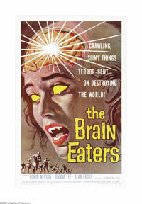 "The Brain Eaters (American International, 1958). One Sheet (27"" X 41""). Parasites from the center of the Earth..."