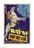 "Movie Posters:Western, Randy Rides Alone (Monogram, 1934). One Sheet (27"" X 41""). This film begins with a haunting scene of John Wayne entering a d..."