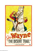 "Movie Posters:Western, The Desert Trail (Monogram, 1935). One Sheet (27"" X 41""). JohnWayne and his partner Kansas Charlie (Eddy Chandler) are accu..."