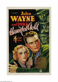 "Haunted Gold (Warner Brothers - First National, 1932). One Sheet (27"" X 41""). John Wayne starred in six Wester..."