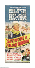 """Movie Posters:Western, She Wore a Yellow Ribbon (RKO, 1949). Australian Daybill (12.75"""" X29.5""""). John Wayne stars as a rough and tough cavalry off..."""