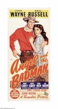 """Movie Posters:Western, Angel and the Badman (Republic, 1947). Australian Daybill (13.5"""" X30""""). This was the first film that John Wayne personally ..."""