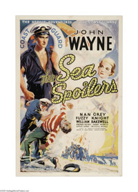 "The Sea Spoilers (Universal, 1936). One Sheet (27"" X 41""). John Wayne is cast as the skipper of a Coast Guard..."