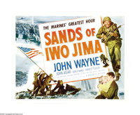 "The Sands of Iwo Jima (Republic, 1950). Half Sheet (22"" X 28""). John Wayne bleeds red, white and blue in this..."