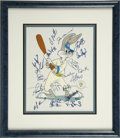 Baseball Collectibles:Others, 1992 Bugs Bunny Limited Edition Hand Painted Cel #80/100 Signed by the 1996 New York Yankees. The World Series Champs from ...
