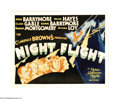 "Movie Posters:Drama, Night Flight (MGM, 1933). Half Sheet (22"" X 28""). Clark Gable,Lionel and John Barrymore, along with Myrna Loy and Helen Hay..."