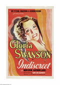 "Movie Posters:Drama, Indiscreet (Art Cinema Associates, R-1937). One Sheet (27"" X 41"").This romantic comedy stars Gloria Swanson in one of her m..."