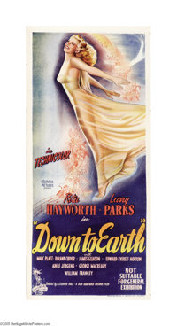 "Down to Earth (Columbia, 1947). Australian Daybill (13.5"" X 30""). Mrs. Orson Welles, Rita Hayworth, stars as o..."