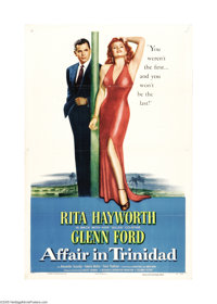 "Affair in Trinidad (Columbia, 1952). One Sheet (27"" X 41""). This film marked the return of bombshell Rita Hayw..."