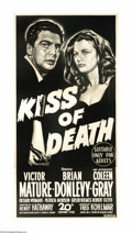 """Movie Posters:Film Noir, Kiss of Death (20th Century Fox, 1947). Australian Three Sheet (41""""X 81""""). Victor Mature gives one of his best performances..."""