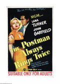 "Movie Posters:Film Noir, Postman Always Rings Twice (MGM, 1946). Australian One Sheet (27"" X40""). Lana Turner and John Garfield were both at the hei..."