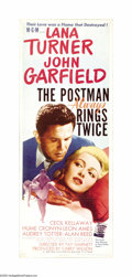 "Movie Posters:Film Noir, Postman Always Rings Twice (MGM, 1946). Insert (14"" X 36""). LanaTurner, a platinum blonde bombshell, was cast as the insati..."