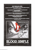 "Movie Posters:Thriller, Blood Simple (Circle Films, 1984). One Sheet (24"" X 36""). Joel andEthan Cohen's debut, ultra low-budget film shot in Austin..."