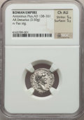 Ancients:Ancient Lots  , Ancients: ANCIENT LOTS. Roman Imperial. Antoninus Pius (AD138-161). Lot of two (2) AR and AE issues. NGC Choice VF-ChoiceAU.... (Total: 2 coins)