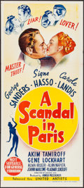 "Movie Posters:Crime, Scandal in Paris (United Artists, 1946). Folded, Very Fine.Australian Daybill (13"" X 30""). Crime.. ..."