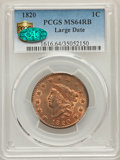 Large Cents, 1820 1C Large Date, N-13, R.1, MS64 Red and Brown PCGS Secure. CAC....