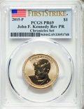 2015-P $1 Reverse Proof John F. Kennedy Dollar, Chronicles Set, First Strike, PR69 PCGS. PCGS Population: (1932/173). NG...