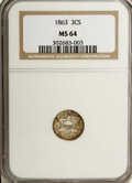 Three Cent Silver: , 1863 3CS MS64 NGC. Reddish-orange patina graces the peripheralzones of this highly lustrous near-Gem, and small purple spo...