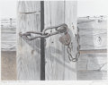 Prints:American, JACKSON MOREY HENSLEY (American, b. 1940). Fort Worth StockYards. Lithograph on paper, edition 162/250. 12.5in. x 16.5i...