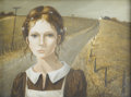 Paintings, PATTI BANNISTER (British, Twentieth Century). Portrait of a Girl. Tempera on panel. Signed to lower right. 13in. x. 17in...
