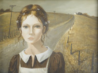 PATTI BANNISTER (British, Twentieth Century) Portrait of a Girl Tempera on panel Signed to lower right 13in. x. 17in