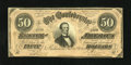 Confederate Notes:1864 Issues, T66 $50 1864. An approximate quarter inch edge tear is observed. Extremely Fine....