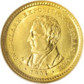 Commemorative Gold: , 1904 G$1 Lewis and Clark MS64 NGC. Dazzling luster enlivens bothsides of this near-Gem, and all of the design features rev...