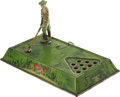 "Antiques:Toys, Strauss Play Golf Number 110 Wind-up Toy.. Tin litho, 12"" x7"" x 7"", Ferdinand Strauss maker's mark present, with th..."