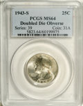 Washington Quarters: , 1943-S 25C Doubled Die Obverse MS64 PCGS. FS-017. Bold doubling isvisible on LIBERTY, IN GOD WE TRUST, and the date. Cartw...