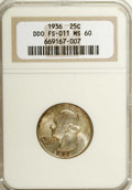Washington Quarters: , 1936 25C --Doubled Die Obverse--MS60 NGC. FS-011. Satiny and wellstruck with light mottled toning near the borders. A coupl...