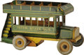 "Antiques:Toys, Strauss Inter-State Bus Wind-up Toy.. Tin litho, 10.5"" long x 6"" high, Strauss Mechanical Toys mark on back of bus, ..."
