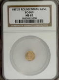 California Fractional Gold: , 1872/1 25C Indian Round 25 Cents, BG-869, Low R.4, MS62 NGC. NGCCensus: (1/12). PCGS Population (15/84). (#10730)...