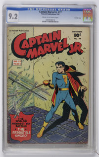 Captain Marvel Jr. #77 Crowley Copy pedigree (Fawcett, 1949) CGC NM- 9.2 Cream to off-white pages