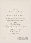 Political:Small Paper (1896-present), John F. Kennedy: Sought-After Invitation to the Planned November 22, 1963, Welcome Dinner in Austin. ...