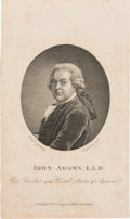 Political:Textile Display (pre-1896), John Adams: Early 1794-Dated Engraving as Vice President. ...