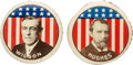 """Political:Pinback Buttons (1896-present), Woodrow Wilson and Charles E. Hughes: A Matched Pair of 1¼""""Lithographed Tin Pinbacks.... (Total: 2 Items)"""