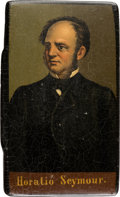 Political:3D & Other Display (pre-1896), Horatio Seymour: Very Rare Rectangular Snuff Box with Hinged Lid. ...
