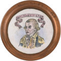 Political:3D & Other Display (pre-1896), George Washington: Striking Large-Size Battersea Enameled Curtain Tie-Back....