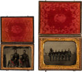 Photography:Tintypes, Civil War: Pair of Tintypes Featuring Group Shots of Union Soldiers....
