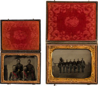 Civil War: Pair of Tintypes Featuring Group Shots of Union Soldiers