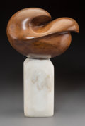 Fine Art - Sculpture, American, 20th Century School. Untitled. Carved wood and marble. 19inches (48.3 cm) high. ...
