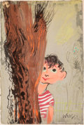 Fine Art - Work on Paper, William Gropper (American, 1897-1977). Bashful Boy. Gouache and watercolor on paper. 14-1/2 x 9-3/4 inches (36.8 x 24.8 ...