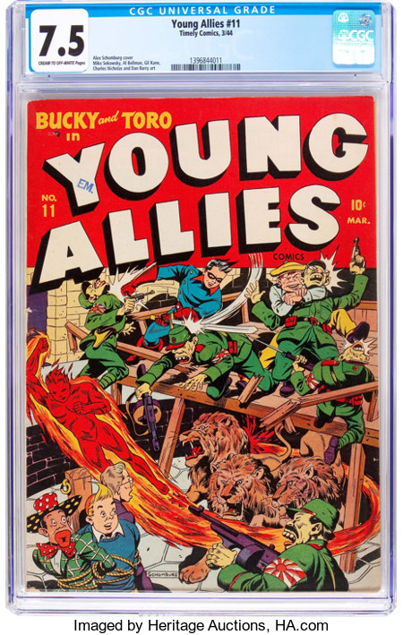 Young Allies Comics #11 (Timely, 1944) CGC VF- 7.5 Cream to off-white pages....