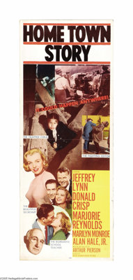 "Hometown Story (MGM, 1951). Insert (14"" X 36""). This film lapsed into obscurity where it may have remained, if..."